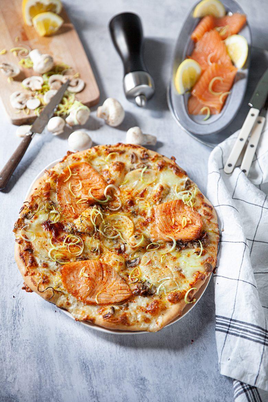Pizza au saumon fumé MOWI et au fromage de chèvre