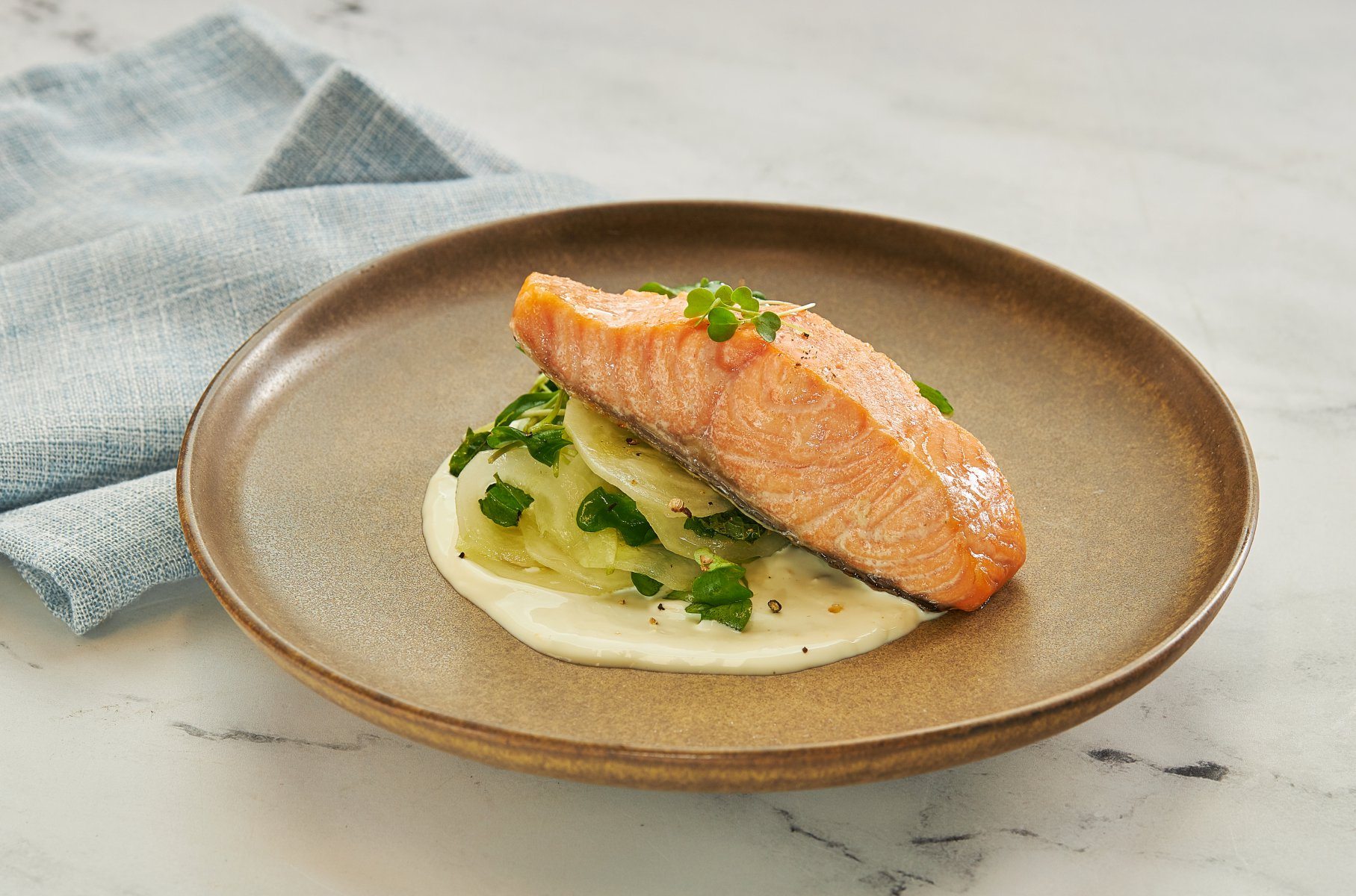 Poached Royal Salmon withCucumber Salad &Greek Yogurt