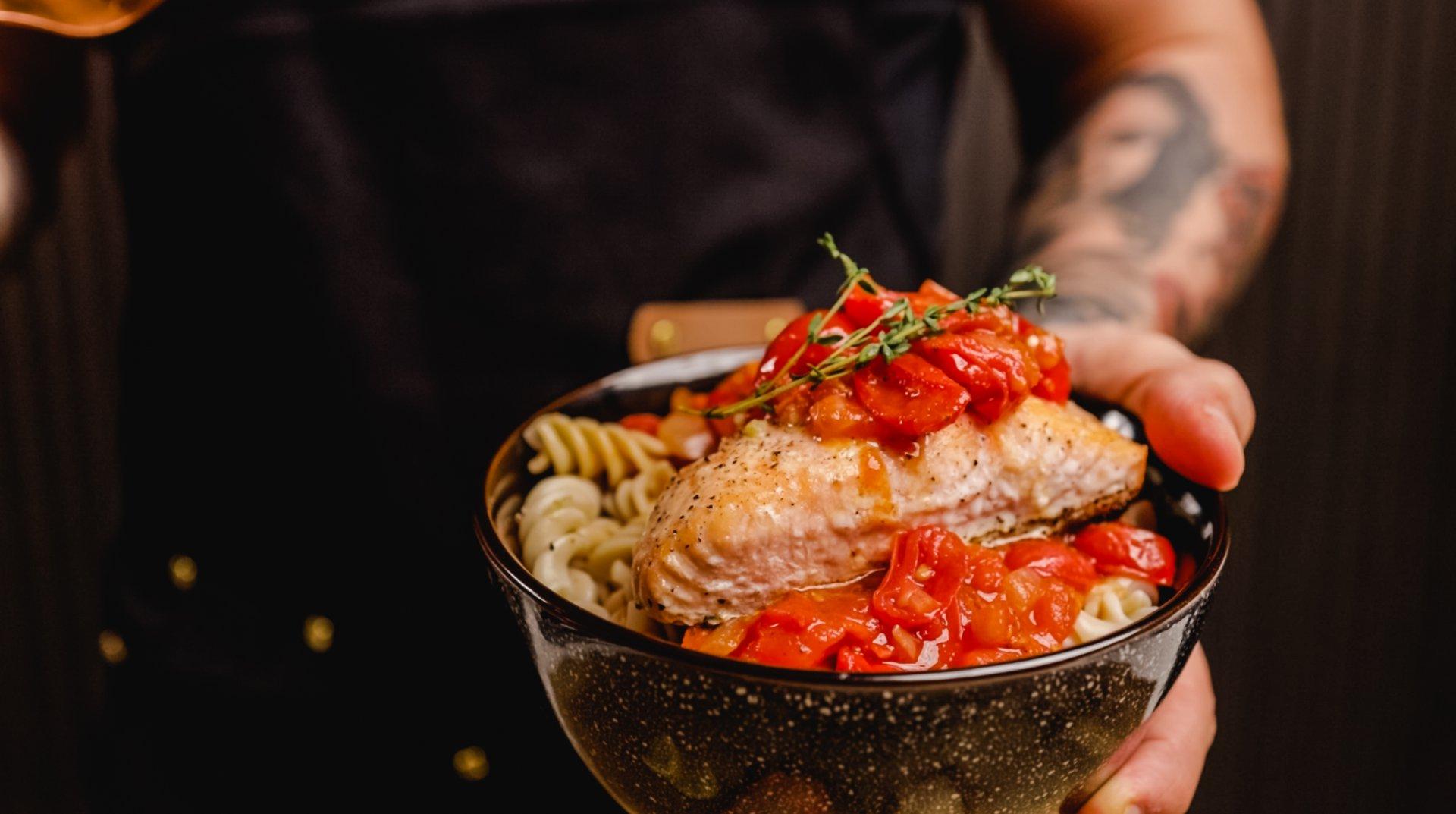 Grilled Salmon with Pasta Pomodoro