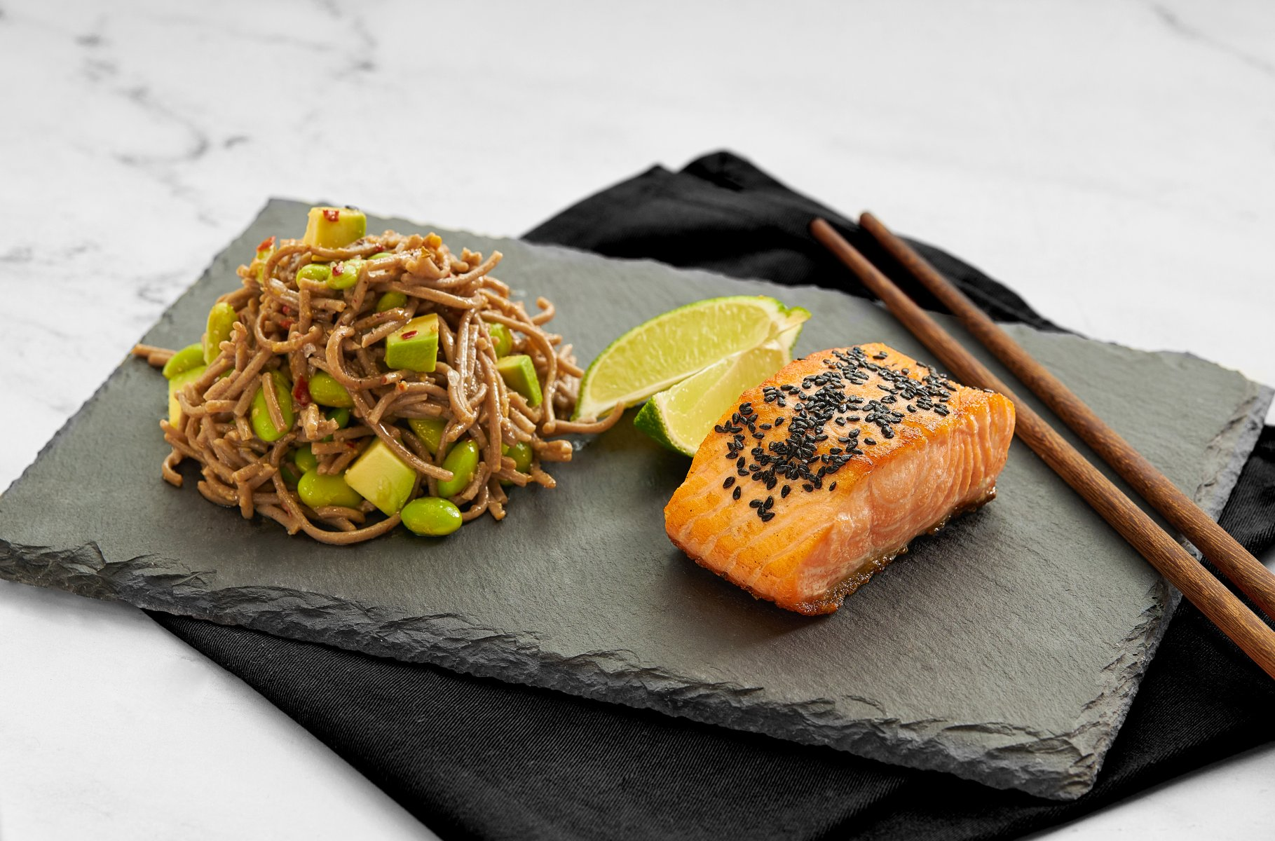 Saku Salmon Sesame with Ginger & Spicy Miso Dressing and Green Tea Soba Noodles