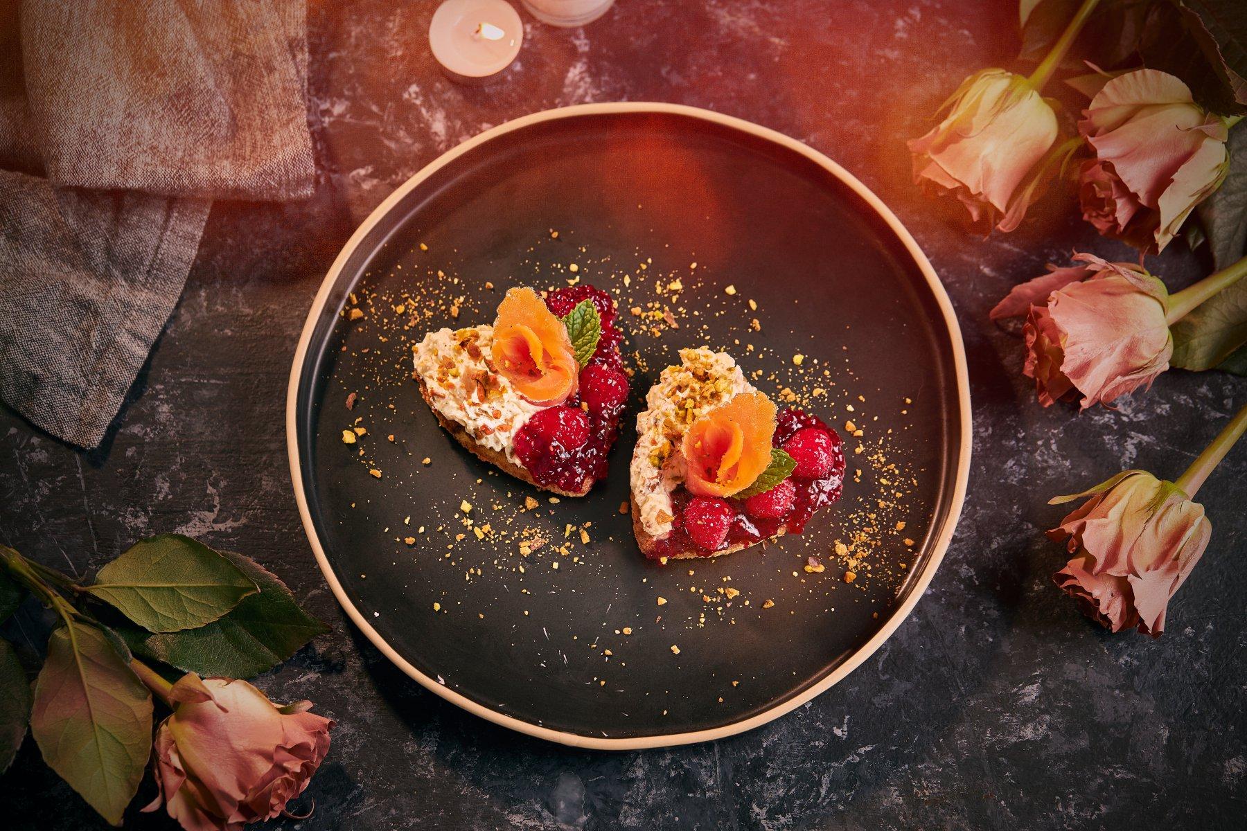 Heart-Shaped Valentine's Cold Smoked Pistachio Roti
